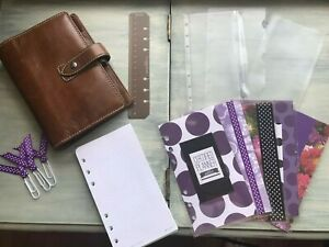 Filofax Malden Organizer Personal Size Ochre Color Leather Bundle Planner Soft