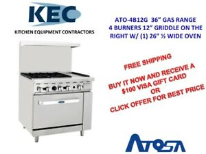 Free 100 Gift Card Atosa 36 Gas Range 4 Burners 12 Griddle 26 1 2 Oven