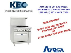 Free 100 Gift Card Atosa 36 Gas Range 4 Burners 12 Griddle Left 26 Oven