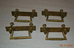 Set Of 4 Vintage Solid Brass Bail Pull Drawer Pulls Square Edged