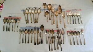 Large Lot Of Vintage Silver Plated Silverware 51 Misc Pieces 6 Brands