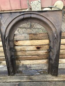 Antique Cast Iron Fireplace Insert Cover Frame Surround