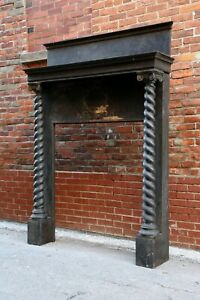 Antique Wood Carved Fireplace Mantel Turned Column Posts Gothic Black Shelf Old