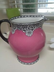 Antique Hot Pink Large Pitcher Victorian Incredible Color Style English