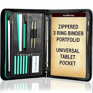 Portfolio Binder A Zippered Padfolio With 3 Ring Binder Document Pu Leather