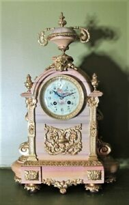 Museum Quality French Gilt Bronze Clock W Rare Pink Gray Layered Marble C 1890
