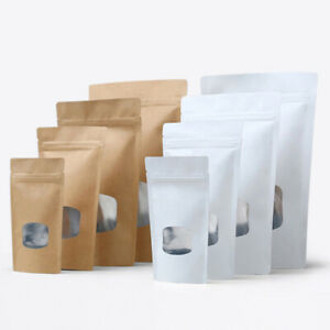 Stand Up Kraft Paper Zip Bags Aluminum Foil Food Lock Pouches With Clear Window