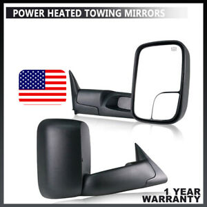 Fit 1998 2001 Dodge Ram 1500 2500 3500 Flip Up Power Heated Pair Towing Mirrors