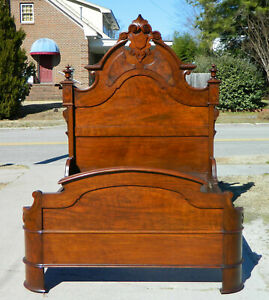 Fancy High Back Walnut Victorian Bed Full Size Circa 1860