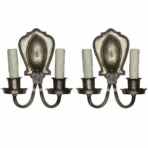 Tudor Sconce Pair In Darkened Nickel Antique Lighting Nsp1249