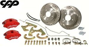 1967 72 Chevy C10 Truck Red Wilwood D52 Rear Disc Brake Conversion Kit 5 lug