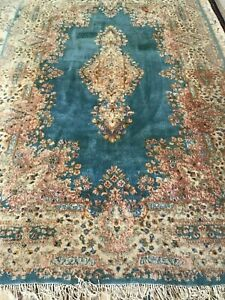 Antique Handmade Persian Rug Turquoise Blue Size 6 X 9 Unique Rare
