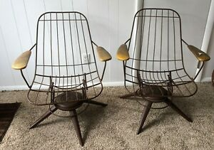 Vintage Home Crest Mid Century Modern Wire Chairs Set 2 Patio Dining Homecrest