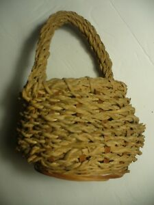 Vintage Antique Small Woven Gathering Basket