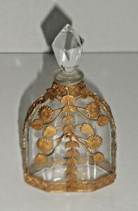 Highly Ornate Very Unusual Brass Ormolu Mounted Perfume Bottle W Partial Label