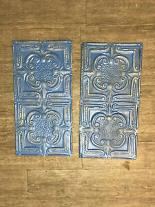 Lot Of Two 24x12inches Vintage Ceiling Tin Blue Colored For Crafts Home Decor