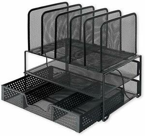 Simple Houseware Mesh Desk Organizer 2 Tray 5 Upright Sections