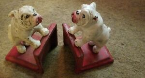 Bookends Cast Iron Bulldogs Rugged Ready To Rumble Distressed Finish