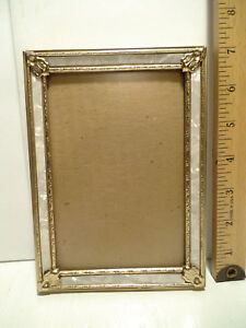 Vintage Picture Frame Ornate Gold Metal Faux Mother Of Pearl Inlay 5 X 7