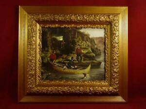 Antique 1800 S Ornate Gold Gesso Picture Frame 18x20 With Currier