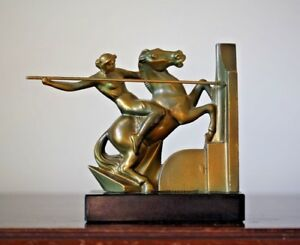 Vintage Metal Art Deco Amazon Warrior Female On Horse With Spear Bookend