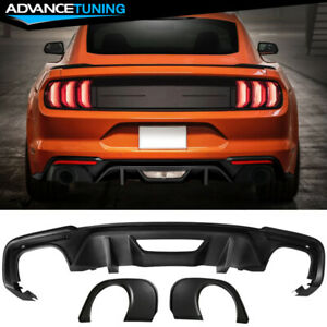 Fits 18 19 Ford Mustang Ecoboost Gt Rear Diffuser Single Outlet Muffler Tip