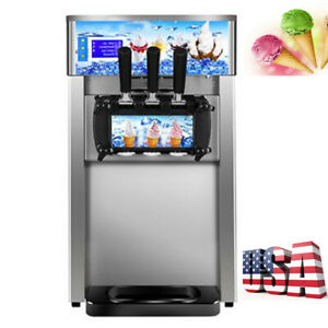 3 Flavor Commercial Soft Ice Cream Maker Machine 1200w without Refrigerant 110v
