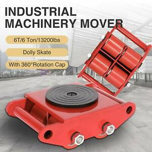 6t 4 Rollers Dolly Skate Machinery Mover W 360 rotation Cap 13200lbs Heavy Duty