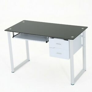 Modern Computer Desk Drawer Keyboard Tray Black Glass Top Iron Office Table