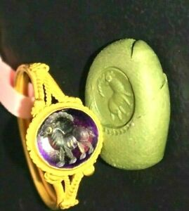 Ancient Amethyst Gem Long Horn Ram Intaglio Signet Genuine Solid 22k Gold Ring