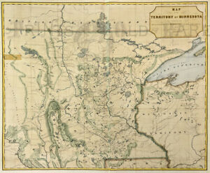 Minnesota Territory Map 1849 Hand Colored Original
