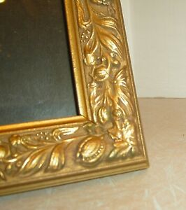 Vintage Raised Carved Wood Picture Frame 12 X 10 Brown Gold Flowers Leaves Glass