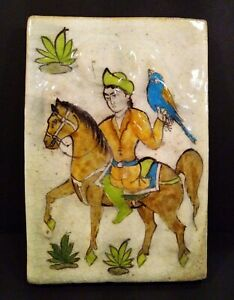 Antique French Ceramic Tile Medieval Man With Exotic Bird Unique Item