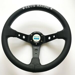 340mm Key s Leather Deep Dish Steering Wheel For Momo Hub Omp Racing Drifting