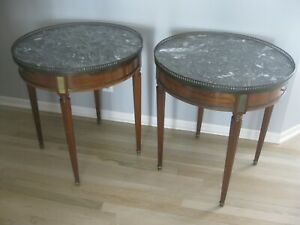 2 1910 Antique Matching French Louis Xvi Mahogany Marble Top Table Work Table