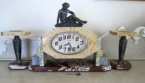 Art Deco French Marble Mantle Clock Spelter Figurine Garnitures Original Key