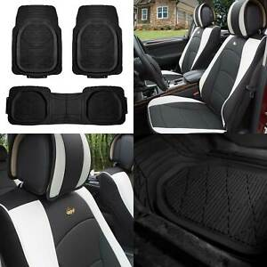 Leather Seat Cushion Bucket Covers Pair White W Black Floor Mats For Auto