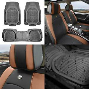 Leather Seat Cushion Bucket Covers Pair Brown W Gray Floor Mats For Auto