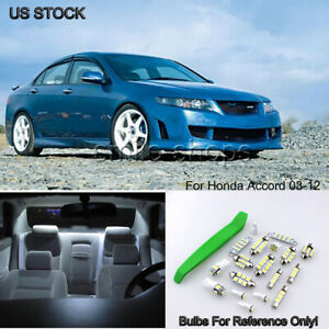 Pure White Led Interior Map Dome Lights Package Kit For 03 12 Honda Accord tool