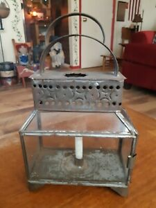 19th Century Punched Tin Glass Candle Lantern Early Tin Candle Lantern