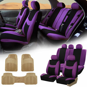 Purple Black Car Seat Covers Full Set For Auto W 5 Headrests Rubber Floor Mats
