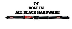 Street Car 74 Latch Link Seat Belt 2 Point 2 Racing Lap Belt Black Hardware