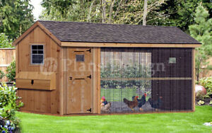 Large Chicken Duck Coop Plans 6 by 12 Gable A frame Roof Style # 70612CG