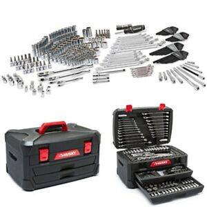 287 Pcs Mechanics Tool Set Universal Sae Metric Ratchet Wrench Socket Kit Case