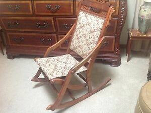 Unique Incredible Antique Victorian Folding Rocker Sewing Nursing Chair
