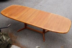 Vtg Danish Modern Teak Dining Table 105 Mid Century W 2 Leaves Ansager Mobler