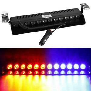12 Led Emergency Warning Flash Strobe Light Beacon Visor Lamps Red Blue
