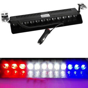 12 Led Emergency Warning Flash Strobe Light Beacon Visor Lamps Red White Blue