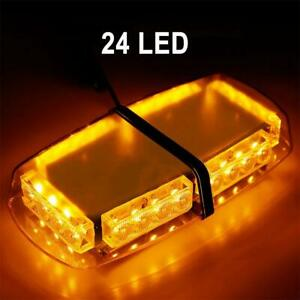 Emergency Light Bar Us Led Warning Mini 24 Strobe Enforcement Amber Yellow