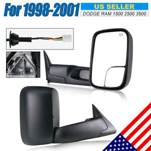 Fit 1998 2001 Dodge Ram 1500 2500 Power Heated Towing Mirrors Side View